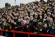 Derby fans during the The FA Cup fourth round match between Accrington Stanley and Derby County at the Fraser Eagle Stadium, Accrington, England on 26 January 2019.