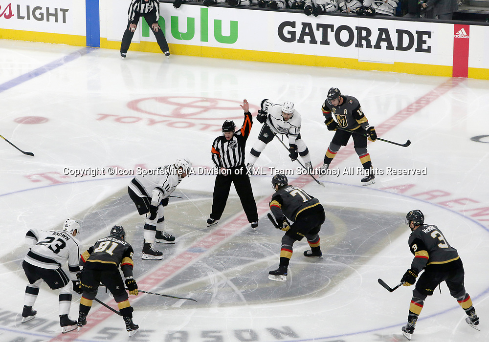LAS VEGAS, NV - APRIL 11: Los Angeles Kings center Anze Kopitar (11) and Vegas Golden Knights center William Karlsson (71) prepare to face off during Game One of the Western Conference First Round of the 2018 NHL Stanley Cup Playoffs between the L.A. Kings and the Vegas Golden Knights Wednesday, April 11, 2018, at T-Mobile Arena in Las Vegas, Nevada. The Golden Knights won 1-0.  (Photo by: Marc Sanchez/Icon Sportswire)