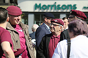 Old Para's catch up before the demonstration in support of Soldier F by former service personnel in Central Manchester on 19 April 2019.