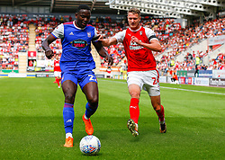 Aristote Nsiala of Ipswich Town holds off an attacking Michael Smith of Rotherham United - Mandatory by-line: Ryan Crockett/JMP - 11/08/2018 - FOOTBALL - Aesseal New York Stadium - Rotherham, England - Rotherham United v Ipswich Town - Sky Bet Championship