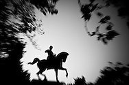 a Garibaldi statue in a park.The shadow line is a trip, a trip losing myself, looking for myself.<br />