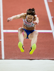 Jana Velďáková of Slovakia competes in the Long Jump Women Qualification on day two of the 2017 European Athletics Indoor Championships at the Kombank Arena on March 4, 2017 in Belgrade, Serbia. Photo by Vid Ponikvar / Sportida