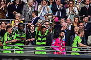 Forest Green Rovers lift the ply off final trophy and celebrate promotion in to the football league Forest Green Rovers Kaiyne Woolery(14) during the Vanarama National League Play Off Final match between Tranmere Rovers and Forest Green Rovers at Wembley Stadium, London, England on 14 May 2017. Photo by Adam Rivers.