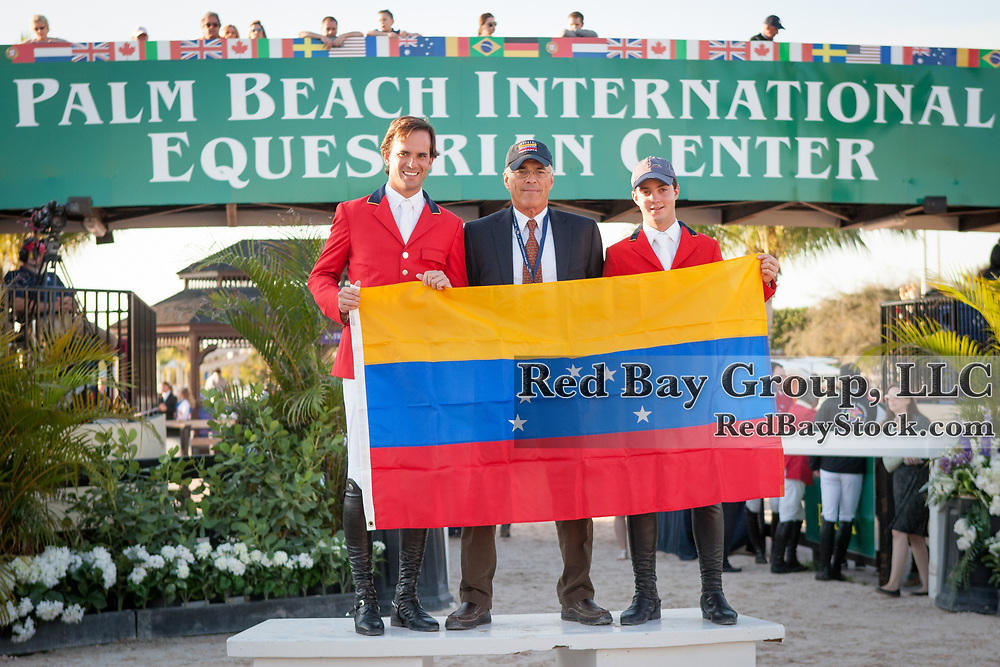 Most of Team Venezuela at the 2014 Furusiyya FEI Nations Cup held during the Winter Equestrian Festival in Wellington, Florida.