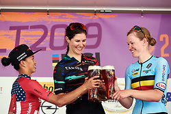 Top three on the stage: Elena Cecchini (ITA), Coryn Rivera (USA) and Jolien D'hoore (BEL) at Lotto Thüringen Ladies Tour 2019 - Stage 6, a 102 km road race in Altenburg, Germany on June 2, 2019. Photo by Sean Robinson/velofocus.com