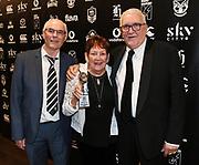 Dave & Lorraine Mckee with Sir Peter Leitch.<br /> 2019 Vodafone Warriors awards. Sky City, Auckand. Tuesday 24 September 2019. © Copyright photo: Andrew Cornaga / www.Photosport.nz