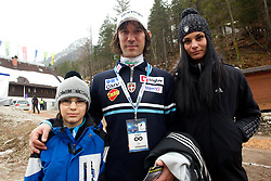 Primoz Peterka of Slovenia with his son Maj and wife Renata finishes his career during  1st day of FIS Ski Jumping World Cup Finals Planica 2011, on March 17, 2011, Planica, Slovenia. (Photo by Vid Ponikvar / Sportida)