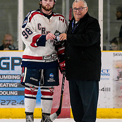 COCHRANE, ON - MAY 1: Trent Grimshaw #98 of the Cochrane Crunch is awarded player of the game on May 1, 2019 at Tim Horton Events Centre in Cochrane, Ontario, Canada.<br /> (Photo by Christian Bender / OJHL Images)