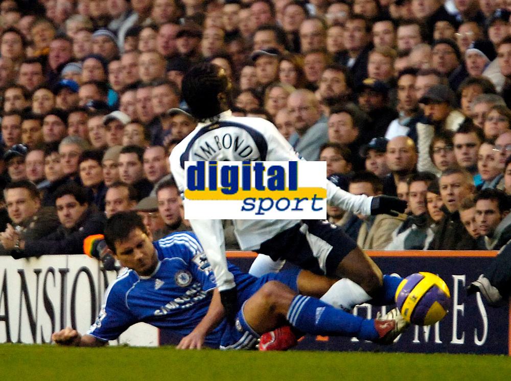 Photo: Ed Godden.<br /> Tottenham Hotspur v Chelsea. The Barclays Premiership. 05/11/2006. Chelsea's Frank Lampard (L), fouls Pascal Chimbonda.