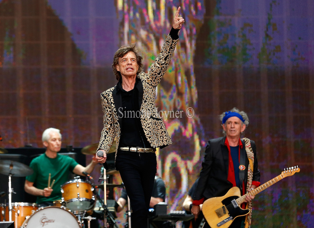 LONDON, ENGLAND - JULY 06:  (L-R) Charlie Watts, Mick Jagger and Keith Richards of The Rolling Stones performs live on stage during day two of British Summer Time Hyde Park presented by Barclaycard at Hyde Park on July 6, 2013 in London, England.  (Photo by Simone Joyner/)