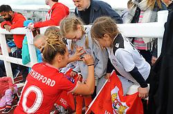 Ella Rutherford of Bristol City signs autographs after the final whistle- Mandatory by-line: Nizaam Jones/JMP - 28/04/2019 - FOOTBALL - Stoke Gifford Stadium - Bristol, England - Bristol City Women v West Ham United Women - FA Women's Super League 1