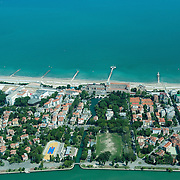 VENICE, ITALY - JULY 07:   An aerial view of the Lido Hotel Excelsior seen during the Seawing  tour above Venice on July 7, 2011 in Venice, Italy. Seawings has started a new tour of Venice by seaplane, offering aerial views of the Venetian Lagoon and its historic islands, continuing a long history of seaplanes in Venice.