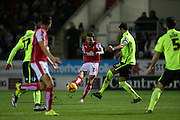 Rotherham United striker Matt Derbyshire (27) shoots during the Sky Bet Championship match between Rotherham United and Brighton and Hove Albion at the New York Stadium, Rotherham, England on 12 January 2016.