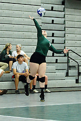 22 September 2015:  Colleen Rynne(9) during an NCAA womens division 3 Volleyball match between the Augustana Vikings and the Illinois Wesleyan Titans in Shirk Center, Bloomington IL