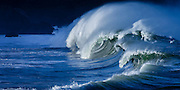 Powerful shorebreak waves of Waimea Bay, hawaii