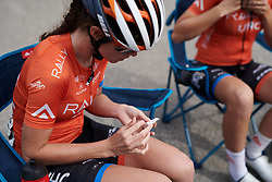 Katherine Maine (CAN) tapes up her war wounds before Ladies Tour of Norway 2019 - Stage 3, a 125 km road race from Moss to Halden, Norway on August 24, 2019. Photo by Sean Robinson/velofocus.com
