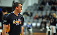 Mark Dickel warms up, prior to the NBL match, between the Otago Nuggets and Hawkes Bay, Lion Foundation Arena, Edgar Centre, Dunedin, Otago, New Zealand, Friday, May 24, 2013. Credit: Joe Allison / Allison Images.