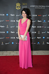 LIVERPOOL, ENGLAND - Tuesday, May 6, 2014: Sky Sports News presenter Natalie Sawyer arrives on the red carpet for the Liverpool FC Players' Awards Dinner 2014 at the Liverpool Arena. (Pic by David Rawcliffe/Propaganda)
