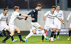 Falkirk's Rory Loy with Raith Rovers players.<br /> Falkirk 3 v 1 Raith Rovers, Scottish Championship game at The Falkirk Stadium.