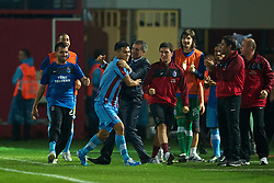 TRABZON, TURKEY - Thursday, August 26, 2010: Trabzonspor's Teofilo Gutierrez celebrates scoring the opening goal against Liverpool with head coach Senol Gunes during the UEFA Europa League Play-Off 2nd Leg match at the Huseyin Avni Aker Stadium. (Pic by: David Rawcliffe/Propaganda)