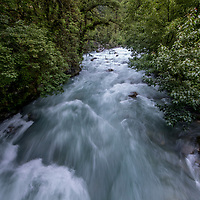 A tributary of Thimpu River. Because of Bhutan's wealth of fast flowing rivers the country is entirely powered by hydroelectricity, most of which is generated through joint venture projects with the Indian government. Thimpu, Bhutan.