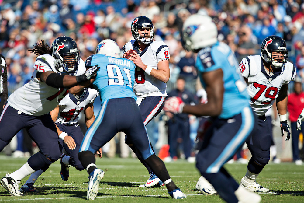 NASHVILLE, TN - DECEMBER 29:  Matt Schaub #8 of the Houston Texans drops back to pass against the Tennessee Titans at LP Field on December 29, 2013 in Nashville, Tennessee.  The Titans defeated the Texans 16-10.  (Photo by Wesley Hitt/Getty Images) *** Local Caption *** Matt Schaub