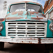 Bisbee, Arizona is known for being an eclectic town filled with eccentric artists, musicians and folks looking to get away from it all. The former copper and silver mining town now focuses its energy on tourism. An old Studebaker truck is parked on a side street in Bisbee, AZ.