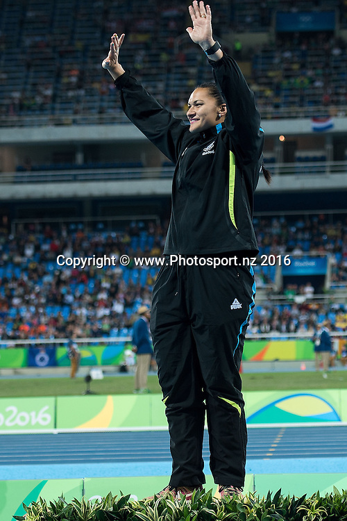 New Zealand's Valerie Adams waves to the crowd during a medal ceremony for the Women's Shot Put in Olympic Stadium at the 2016 Rio Olympics on Saturday the 13th of August 2016. © Copyright Photo by Marty Melville / www.Photosport.nz