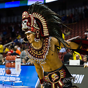 15 March 2018: The Aztec warrior leads the team onto the court prior to taking on the Houston Cougars. The San Diego State Aztecs got knocked out in the first round by Houston on a last second layup to lose 67-65  at Intrust Bank Arena in Wichita, Kansas.