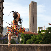 It is not often Dima gets to dance anymore. Here she is practicing on the roof top of Mansion in Beirut. Dima, former dancer from Damascus now working in Mezzian in Beirut. She came 15 months ago fleeing threats to kill and rape her from the Ghosts - Assad regime fanatics. She has not danced since but misses it a lot.