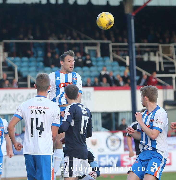 Kilmarnock&rsquo;s Conrad Balatoni heads clear - Dundee v Kilmarnock, Ladbrokes Premiership at Dens Park <br /> <br />  - &copy; David Young - www.davidyoungphoto.co.uk - email: davidyoungphoto@gmail.com