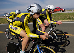 The University of Colorado - Boulder team of Taylor Kneuven, Ryan Belew, Brad Bingham, and Kiel Reijnen competes in the men's division 1 race.  The 2008 USA Cycling Collegiate National Championships Team Time Trial event was held near Wellington, CO on May 9, 2008.  Teams of 3 or 4 riders raced over a 20km out and back course that ran along a service road to Interstate 25.