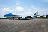 CAPE CANAVERAL, FL -  APRIL 15:  Air Force One sits on the tarmac at the shuttle landing facility at Kennedy Space Center as United States President Barack Obama delivers a speech at NASA April 15, 2010 in Cape Canaveral. Obama was holding a summit to discuss the future of the space program. (Photo by Matt Stroshane/Getty Images)