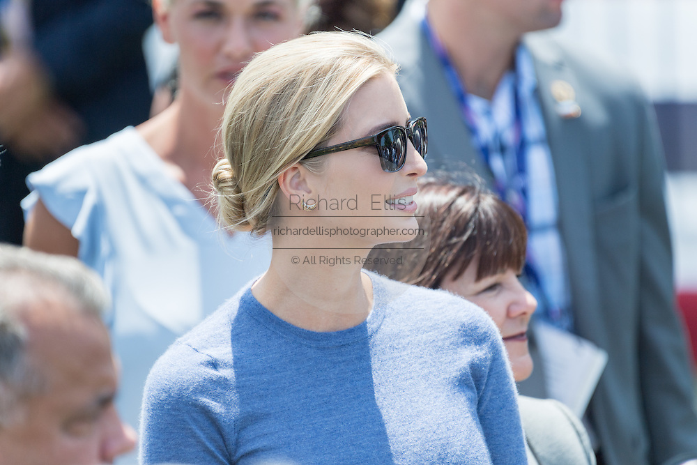Ivanka Trump, daughter of Donald Trump waits for her father to arrival by helicopter to the Republican National Convention July 20, 2016 in Cleveland, Ohio. Trump flew into the lakeside airport by his private jet and then by helicopter for a grand arrival.