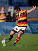 Waikato's Callum Bruce kicks during the Air New Zealand Cup rugby match between Waikato and Bay of Plenty won by BOP 32-16 at Bay Park Stadium, Tauranga, New Zealand, Saturday 22 August 2009. Photo: Stephen Barker/PHOTOSPORT
