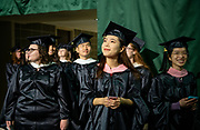 Wanru Zhao participates in graduate commencement ceremonies. Photo by Ben Siegel