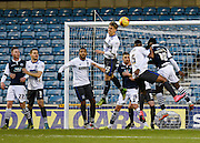 Bury forward Danny Rose heads clear during the Sky Bet League 1 match between Millwall and Bury at The Den, London, England on 28 November 2015. Photo by David Charbit.
