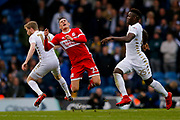 Leeds United midfielder Eunan O'Kane (14) catches Middlesbrough defender Connor Roberts (23), on loan from Swansea City,  during the EFL Sky Bet Championship match between Leeds United and Middlesbrough at Elland Road, Leeds, England on 19 November 2017. Photo by Simon Davies.