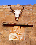 0108-1009 ~ Copyright:  George H. H. Huey ~ Detail above the front entrance of the Navajo trading post, founded 1878.  Hubbell Trading Post National Historic Site, Arizona.