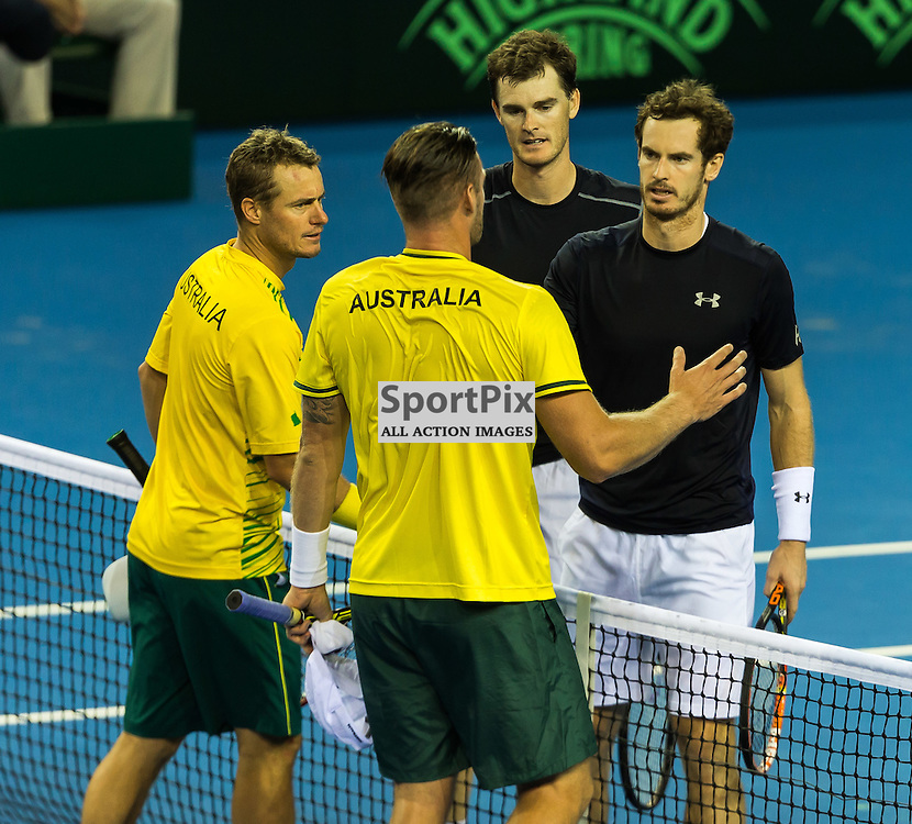Andy and Jamie Murray celebrate their win during the Davis Cup Semi-final between Great Britian and Australia (c) ROSS EAGLESHAM | Sportpix.co.uk