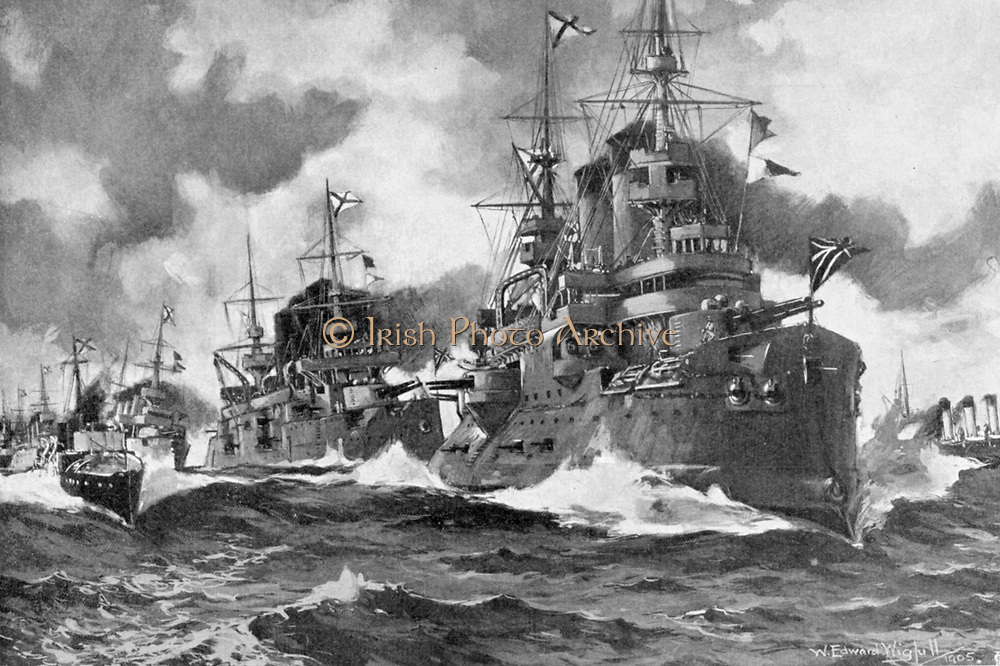 Russo-Japanese War 1904-1905: The great Russian fleet steaming forth for the last time, August, 1904.