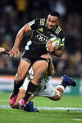 Hurricanes Ngani Laumape against the Sharks in the Super Rugby match at McLean Park, Napier, New Zealand, Friday, April 06, 2018. Credit:SNPA / Ross Setford