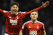 Nottingham Forest midfielder Ben Osborn (11) and Nottingham Forest midfielder Matty Cash (41) celebrate after scoring a goal to make it scores a goal to make it 1-0 during the EFL Sky Bet Championship match between Nottingham Forest and Bristol City at the City Ground, Nottingham, England on 21 January 2017. Photo by Jon Hobley.