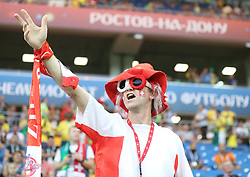 ROSTOV-ON-DON, June 17, 2018  A fan of Switzerland cheers prior to a group E match between Brazil and Switzerland at the 2018 FIFA World Cup in Rostov-on-Don, Russia, June 17, 2018. (Credit Image: © Li Ming/Xinhua via ZUMA Wire)