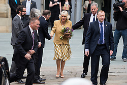 © Licensed to London News Pictures . 14/05/2015 . Liverpool , UK . THE DUCHESS OF CORNWALL leaves . The Prince or Wales and the Duchess of Cornwall visit the World Museum in Liverpool . Photo credit : Joel Goodman/LNP
