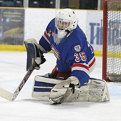 COCHRANE, ON - MAY 2: Chris Elliot #35 of the Oakville Blades makes the save  during the second period on May 2, 2019 at Tim Horton Events Centre in Cochrane, Ontario, Canada.<br /> (Photo by Tim Bates / OJHL Images)
