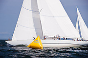 Columbia and Weatherly sailing in the Nantucket 12 Metre Class Regatta, day two.