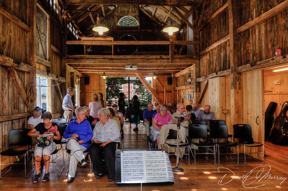 The audience gathers in the barn at the Moffatt-Ladd House in Portsmouth NH for a chamber music performance by The Arensky Ensemble, presented by Historic Portsmouth Chamber Music 2012