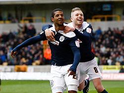 Huddersfield's Jermaine Beckford celebrates the third goal with Adam Clayton- Photo mandatory by-line: Matt Bunn/JMP  - Tel: Mobile:07966 386802 13/04/2013 - Wolverhampton Wanderers v Huddersfield Town - SPORT - FOOTBALL - Championship -  Wolverhampton - Molinuex-