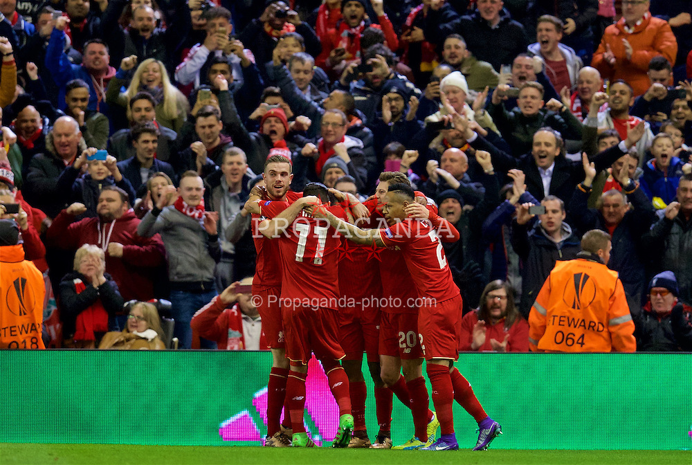 LIVERPOOL, ENGLAND - Thursday, March 10, 2016: Liverpool's Daniel Sturridge celebrates scoring the first goal against Manchester United's goalkeeper David de Gea from a penalty kick during the UEFA Europa League Round of 16 1st Leg match at Anfield. (Pic by David Rawcliffe/Propaganda)